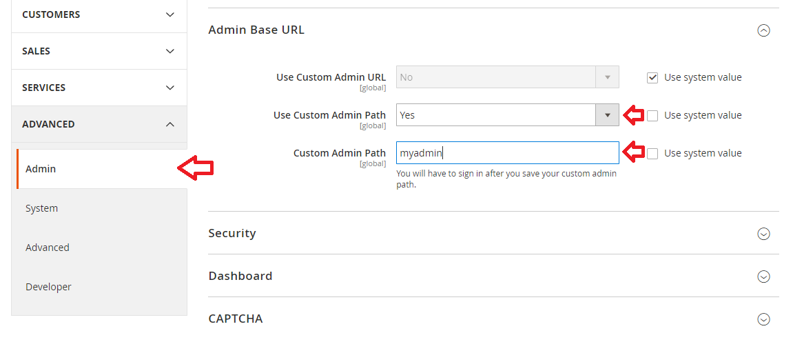 Magento 2 Admin Panel URL Update